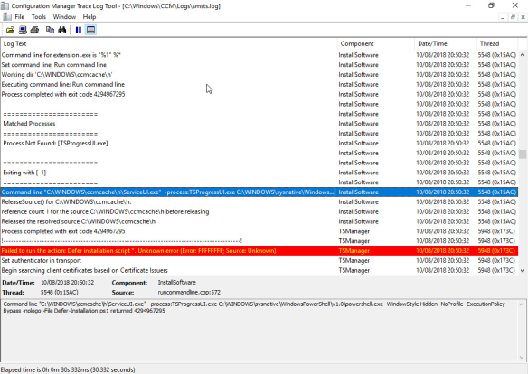 How to display a custom window in SCCM Task Sequence using